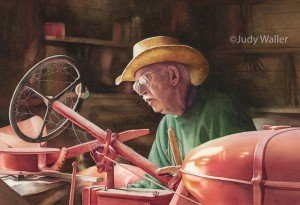 """Fine-tuning Allis,"" watercolor by Judy Waller"